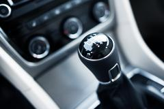 manual transmission stick closeup. - stock photo