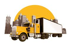 Trucking industry skyline. yellow semi truck Piirros