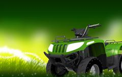 Green 4x4 atv on mysterious grassland Stock Illustration