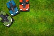 Stock Illustration of atv quad bikes on the grassy field