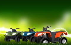 atv quads on the meadow. three quad bikes - stock illustration
