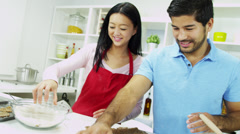 Close Up Happy Young Ethnic Couple Home Kitchen Biscuit Baking - stock footage