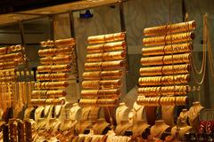 gold bracelets and bangles - stock photo