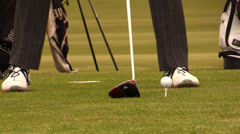 Golf : golfer swing with driver (audio) Stock Footage