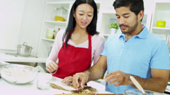 Heterosexual Asian Chinese Couple Baking Together Kitchen Close Up - stock footage