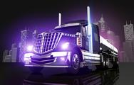 Stock Illustration of violet glowing tanker truck and the city skyline
