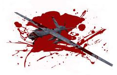 Killer drone in blood isolated on white. Stock Illustration