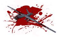 Stock Illustration of killer drone in blood isolated on white.