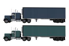 Two trucks side view isolated Stock Illustration