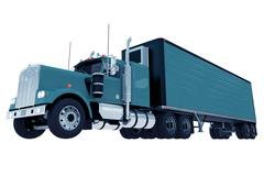 Blue truck with trailer isolated Stock Illustration