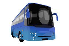 modern blue tour bus illustration isolated - stock illustration
