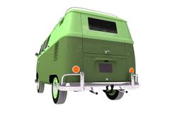 aged camper rear view 3d illustration isolation - stock illustration