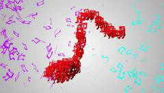 Red Musical Note Particles Loop Animation VJ 4K resolution Ultra HD Stock Footage