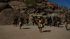 The Damara tribe dancing, Namibia, Africa Stock Footage