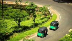 Rickshaws on a tea plantation in Sri Lanka - stock footage