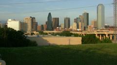 Dallas Skyline And Uptowm From Trinity Park Stock Footage