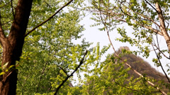 A tower on the great wall of china on mountain ridge Stock Footage