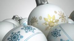 Christmas baubels white pan 2 Stock Footage