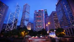 Hong Kong's Admiralty time-lapse at blue hour Stock Footage