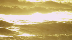 Sunset Light Over Gentle Ocean Waves Stock Footage