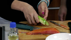 Cutting Avocado For Sushi and Maki-zushi Stock Footage