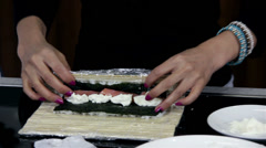 Rolling The Maki-zushi Ingredients Stock Footage
