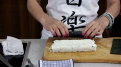 Japanese Maki-zushi and Sushi Rolls Stock Footage