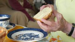 Elderly woman making breakfast, close up hands Stock Footage