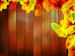 Autumn leaves over old wooden. plus EPS10 - stock illustration