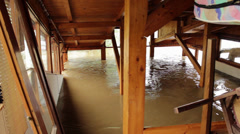Water flowing inside house, floods, close up. Stock Footage
