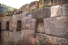 ollantaytambo, old inca fortress in the sacred valley in the andes mountains - stock photo