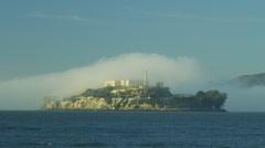 Alcatraz Island The Rock sea fog Bay Prison, San Francisco, California, USA Stock Footage