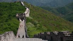 Tourists hiking along the great wall of china beijing jiankou section Stock Footage