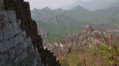 Towers and great wall of china on a mountain ridge Stock Footage