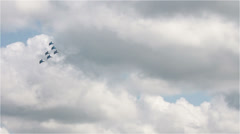 attack fighters against the background of thunderclouds - stock footage