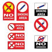 set of smoking an no smoking cigarette sign - stock illustration