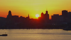 Bufflao, New York aerial sunrise Stock Footage