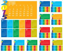 set of monthly year 2015 colorful calendar - stock illustration
