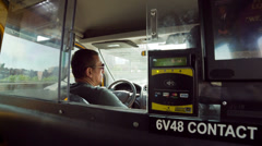 Taxi Interior Cab Ride Driving Driver Credit Card Machine Swipe Backseat - stock footage