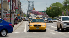 Williamsburg Bridge in LES Lower East Side Manhattan New York City NYC Taxi Cab Stock Footage