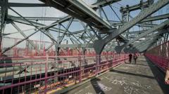 Williamsburg Bridge NYC New York City Crossing People Walking Pedestrians - stock footage