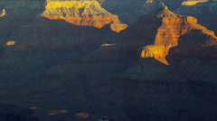 Sunrise Grand Canyon cliffs National Park panning winter colour, Arizona, USA Stock Footage