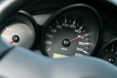 dashboard of car going fast. high speed concept - stock photo