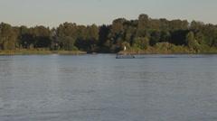 Fraser River New Westminster Boat Panning Shot - stock footage