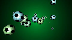 Soccer Balls Flying Forwards Towards the Viewer Stock Footage