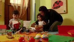 10of15 Little children, babies, teacher playing in kindergarten, school Stock Footage