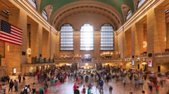 Timelapse of crowd in Grand central Station in Manhattan New York USA - stock footage