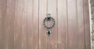 A metal knocker from an old door in a castle  fs700 4k raw odyssey 7q Stock Footage
