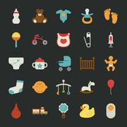 baby icons with black background - stock illustration
