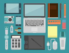 office workplace essential - stock illustration